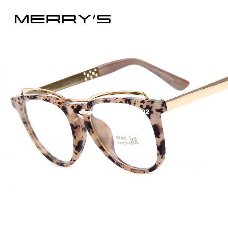 ecabeb3fa8 MERRY S Fashion Women Cat s Eye Glasses Brand Designer Frames Print ...