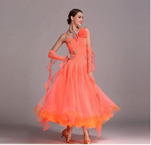 2018 orange ballroom dance dress fringe latin ballroom dress tango waltz dress foxtrot standard dresses for ballroom dancing green ballroom dance dresses