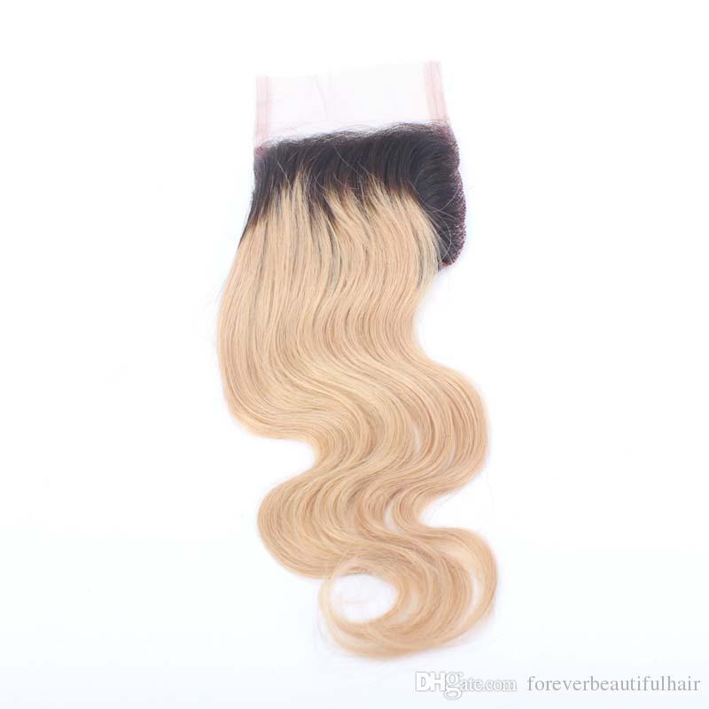 Dark Roots # 1B / 27 Ombre Blonde Chiusura peruviana dei capelli Body Wave 4