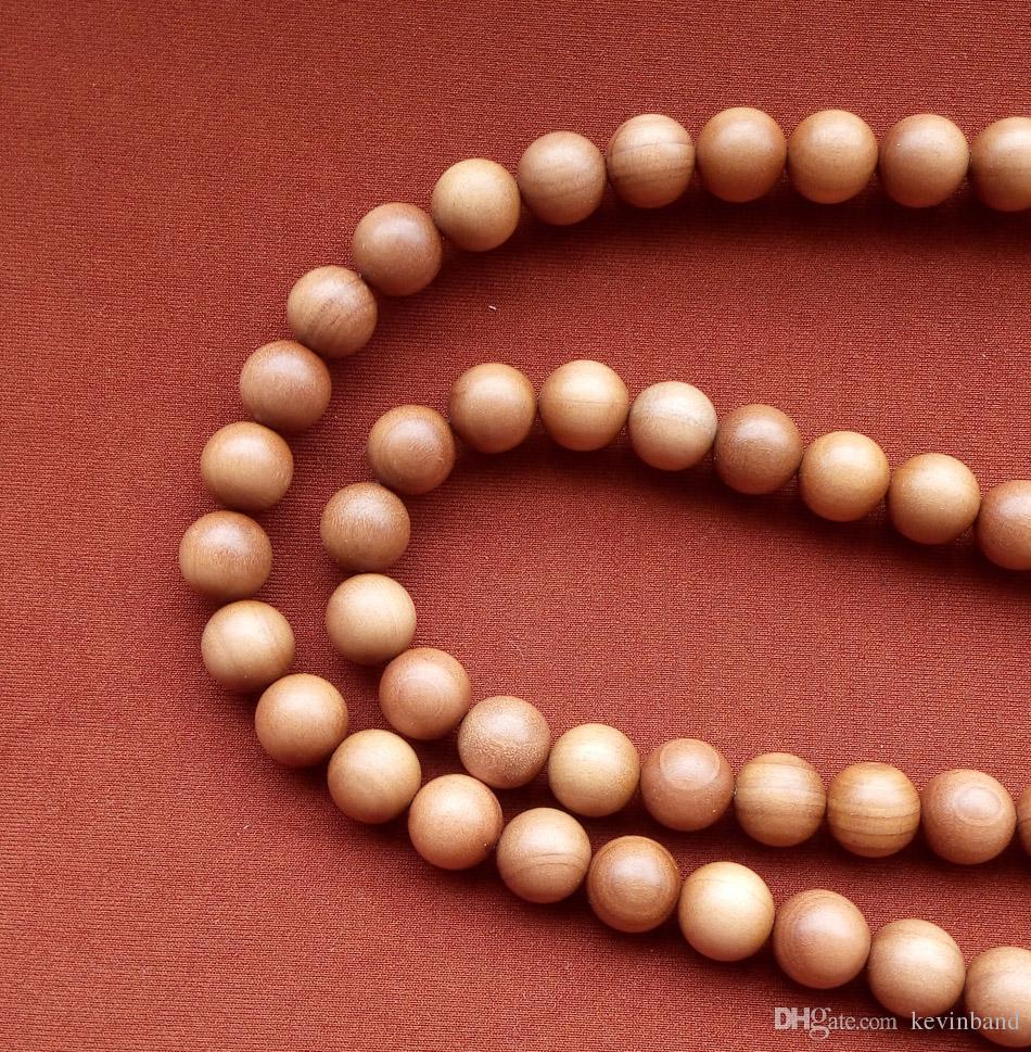 10mmxRosario buddista perline braccialetto donne Collana braccialetto di legno Genuine naturale legno di sandalo Mysore of India Forte latte aromatico