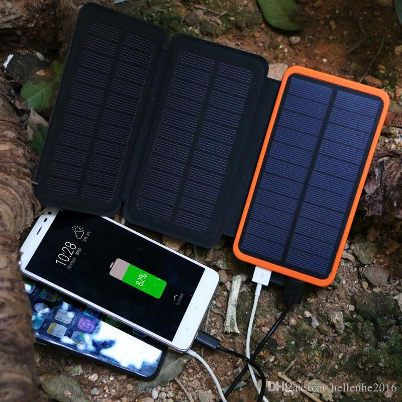 Portable Solar Power Bank 20000mAh Rechargeable External Battery Foldable 4W Solar Panel Phone Charger for iPhone Samsung HTC Sony LG