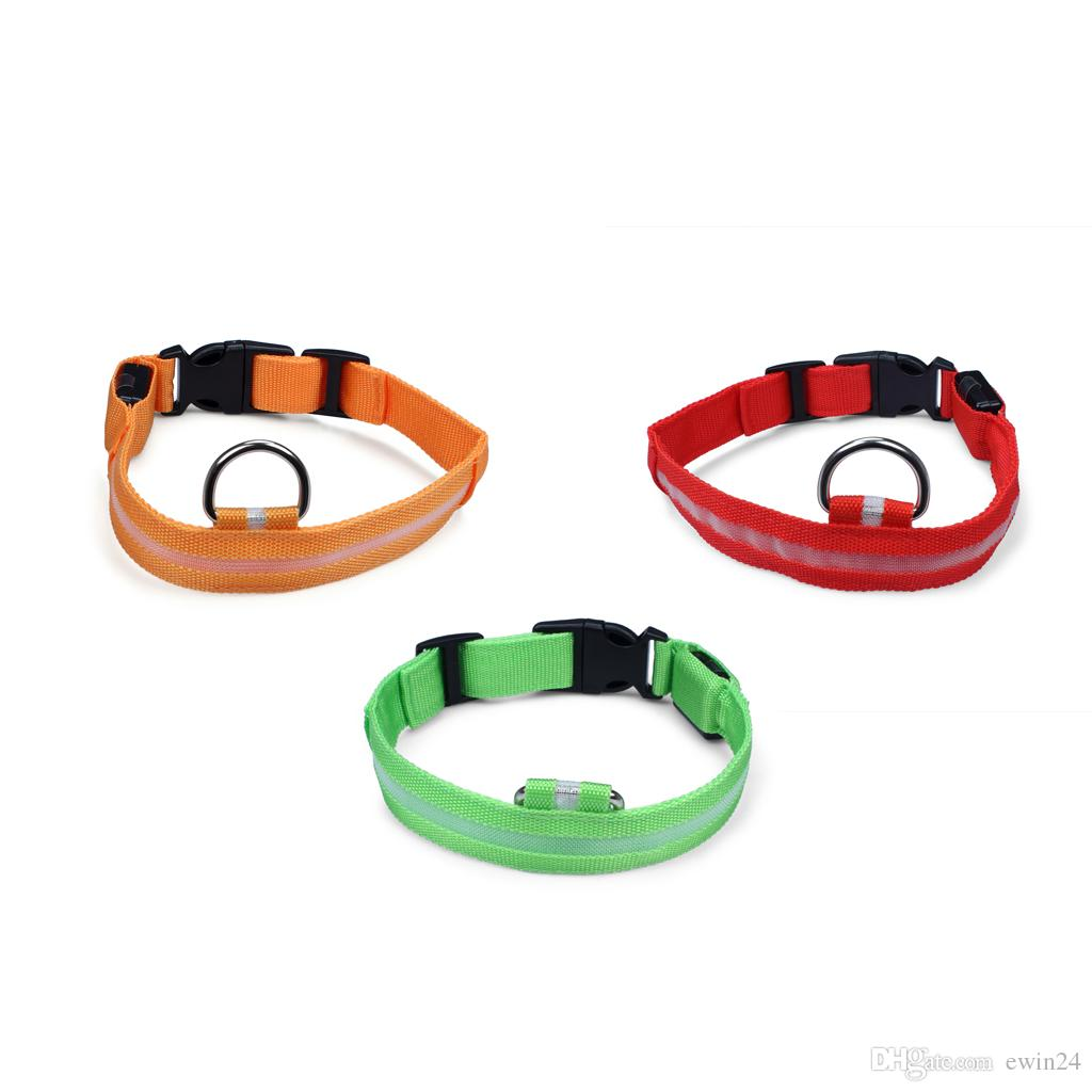 Assorted Color 3 Size LED Pet Dog Cat Flashing Light-up Glow Safety Nylon Collar Christmas Gifts