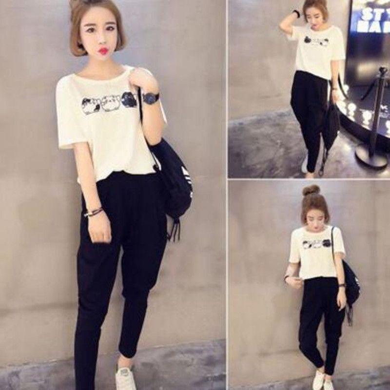 2019 Women Fashion Sets Suit Cartoon White Shirt And Harem Black