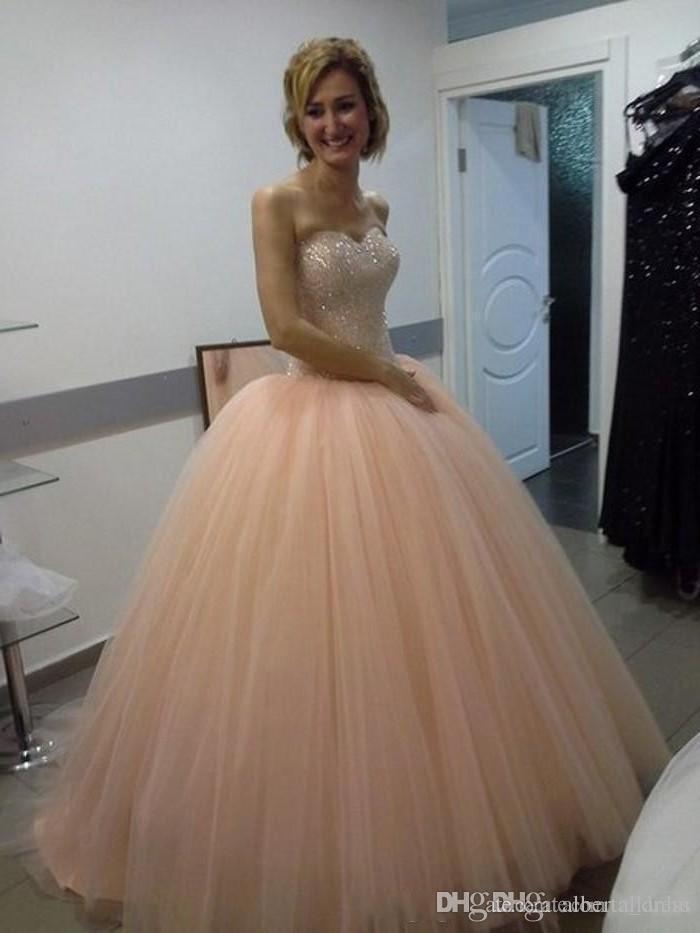 Principessa 2017 pesca Quinceanera abiti Sweetheart abito di sfera abiti da ballo dolce 16 con perline di cristallo promenade di promenade abiti
