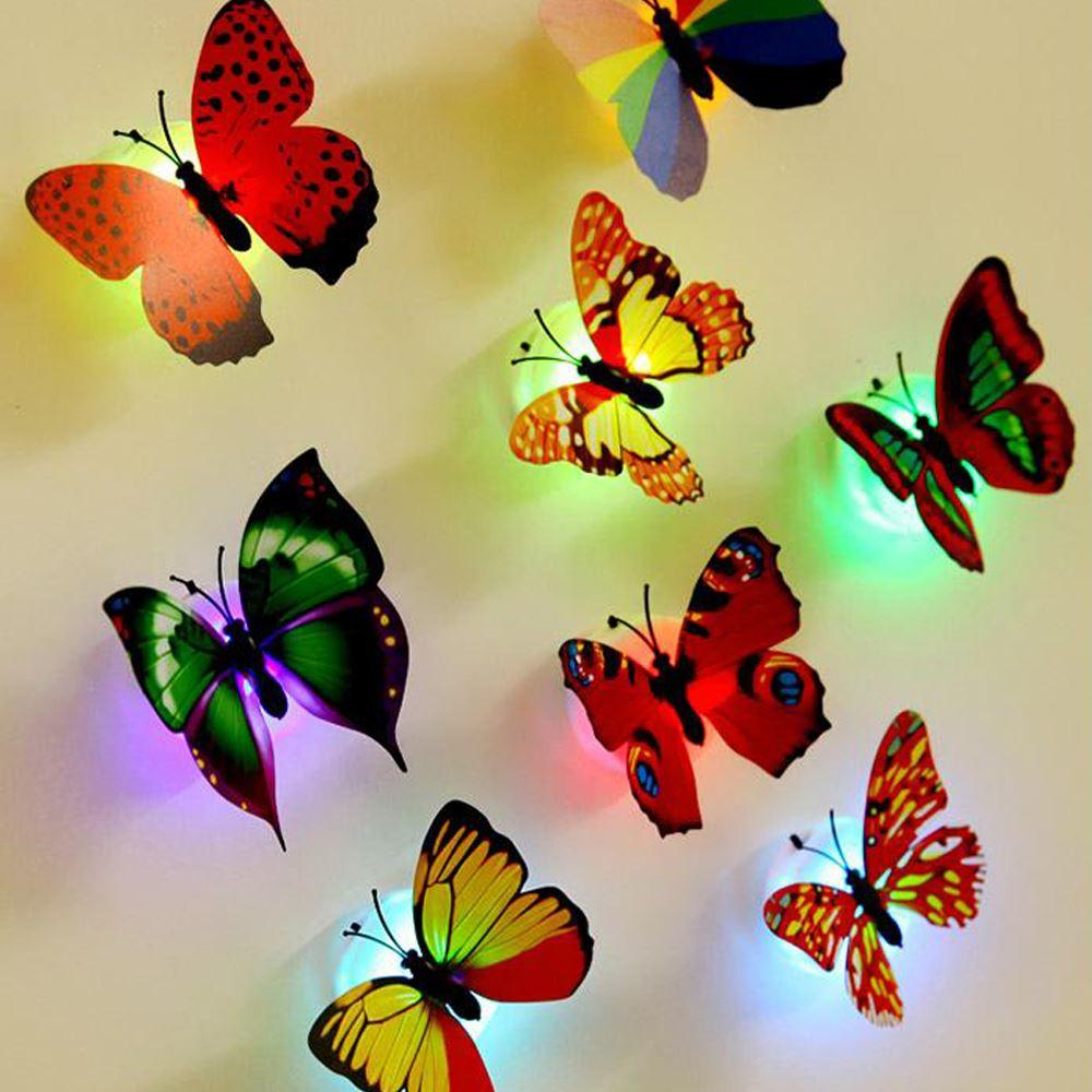 10 pieces/lot wall stickers wall decoration butterfly butterfly LED lights wall stickers 3D house decoration new year decoration