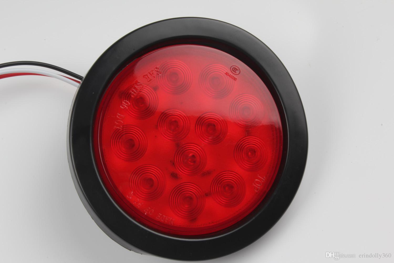 Rimorchio a 4 pollici rotondo rosso 12 LED del fanale di arresto della luce della coda del fanale posteriore, spina il rimorchio del camion DC 12V