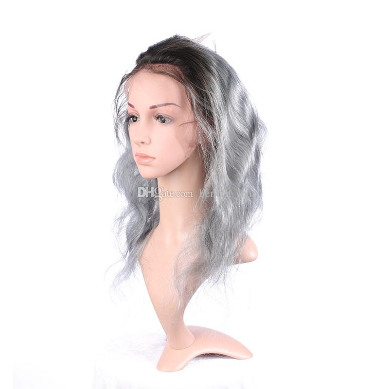 Ombre # 1B paquetes de cabello de onda gris del cuerpo con 360 paquetes de cabello frontal plateado gris Ombre con frontal de encaje completo desplumado
