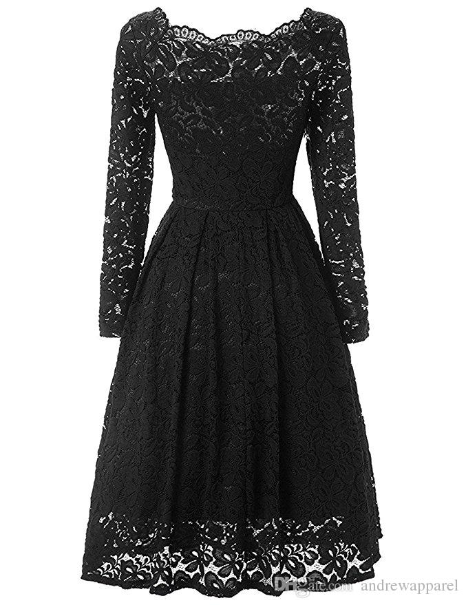 fa43d3f03eb 2019 GLAMCAREWomen S Vintage Floral Lace Long Sleeve Boat Neck Cocktail  Formal Swing Dress From Andrewapparel