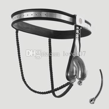 Male Adjustable Model-Y Stainless Steel Premium Chastity Belt with 2 Chains and Urethral Tube color