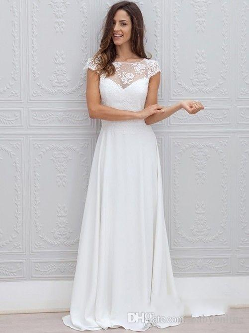 2019 Jewel Neck Simple White Beach Wedding Dresses A Line Backless Floor Length Chic Cap Short Sleeves Bridal Gowns cheap
