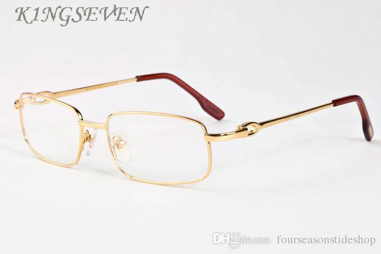 Rétro hommes corne de buffle lunettes 2017 femmes marque lunettes de soleil pour hommes sans monture or argent cadre clair lentilles lunettes avec étui oculos de sol