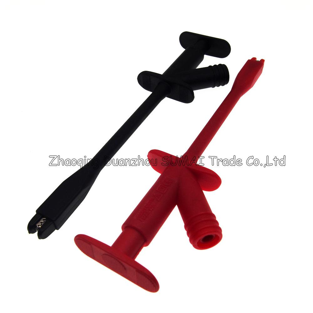 Professional Rigid Shaft Clamp type Test Probe/hook with 4mm socket,Insulation Piercing Clip,CATIII 1000Vac/10A max,Auto testing tool