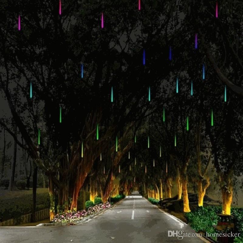 أضواء 30LED 60CM / 36LED أضواء 80CM / 48LED أضواء 100CM نيزك ضوء المطر عيد الميلاد زخرفة ضوء الجنية الزفاف فلاش LED أضواء