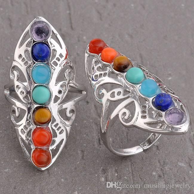 Anelli di nozze 7 Chakra perline in pietra naturale anello regolabile le donne Charms ametista onice ecc accessori gioielli europei di moda