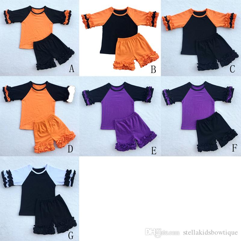 Icing Girls Clothing Set Ruffle Three Quarter Baby Girls Tee Short Outfit Black Orange Halloween Children Clothes Retail Cheap