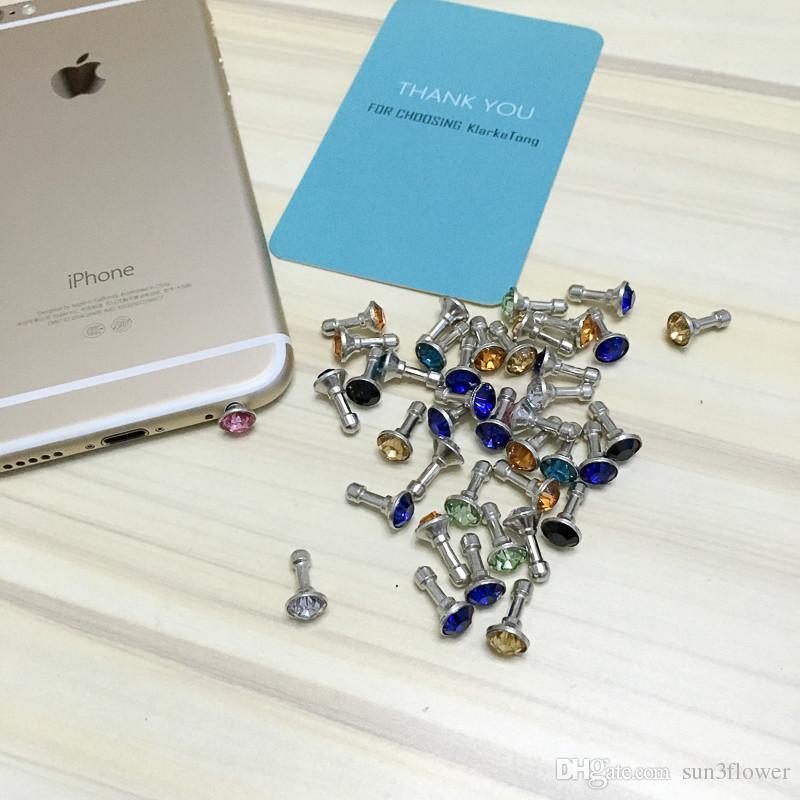 100 stücke kristall bling diamant 3,5mm handy kopfhörer jack anti staubstecker für iphone samsung huawei xiaomi zubehör