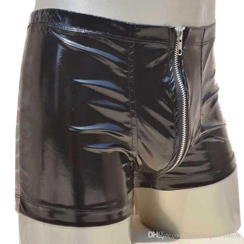 Men Zipper Intimo Boxer Shorts Sexy Mutande Mutandine a marsupio Apertura sul cavallo Vita elastica Novità Lingerie