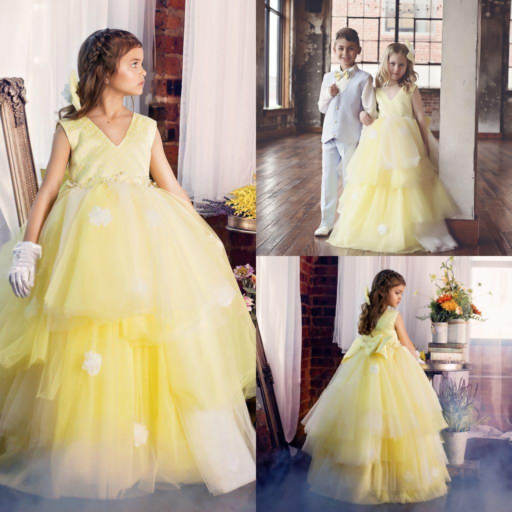 Lovely Yellow Graduation Gown Children Tulle Floor Length Long ...
