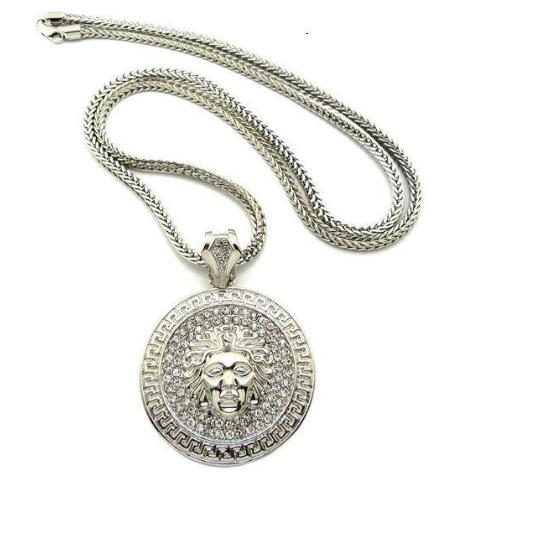 Para hombre Hip Hop Collar largo joyas de oro Slver Cadenas heló hacia fuera el collar de diamantes colgante Pece Declaración Collares hombres de las mujeres