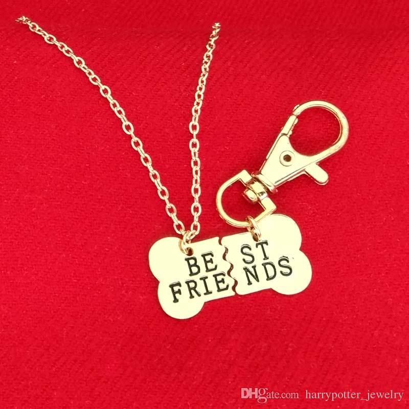 Or Argent BEST FRIENDS os de chien animal collier pendentif collier BFF 2 partie chien collier os et hommes bijoux porte-clés