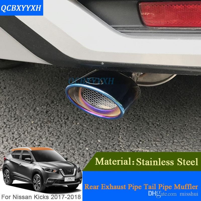 QCBXYYXH Car Auto Exhaust Muffler Tip For Nissan Kicks 2017 Stainless Steel Pipe Chrome Trim Modified Car Rear Tail Throat Liner