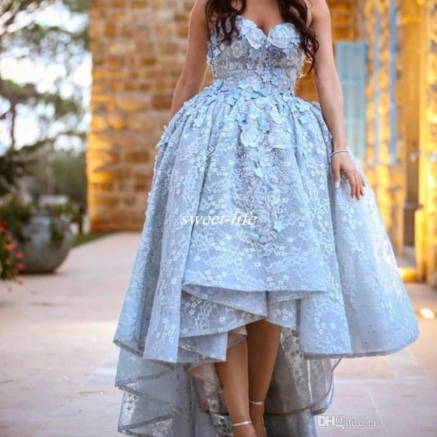Hi Lo Full Lace Ball Gown Prom Dresses Sexy Sweetheart with 3D Appliqued Flower Sheer Organza 2017 Evening Gowns College Pageant Party Dress