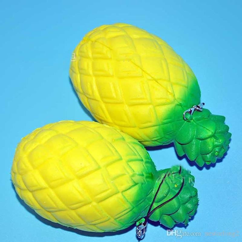New Jumbo Kawaii 13cm Soft Squishy Pineapple Mobile Phone Strap Slow Rising Squeeze Scented Bread Toy Relieve Anxiety Gift
