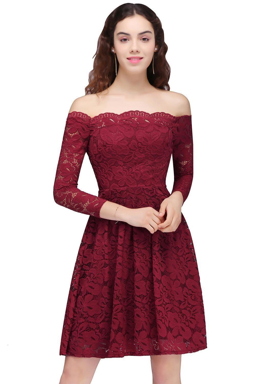 2018 Yeni Tasarım Dantel Bordo Parti Mezuniyet Elbiseleri Vintage Kapalı Omuzlar Uzun Kollu Diz Boyu Kokteyl Mezuniyet Elbiseleri CPS694
