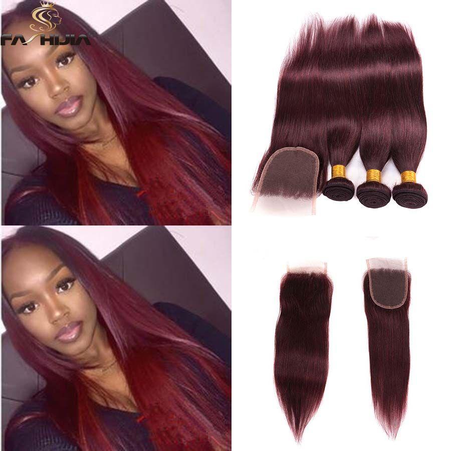 2018 Red Brazilian Hair Weave Closure With Bundle 99j Burgundy