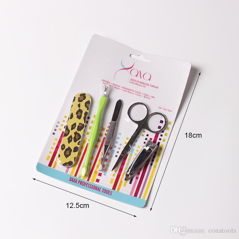 Stainless steel Manicure Set Nail Art Care Pedicure Beauty Tools Nail Clipper Cutter Scissor Eyebrow Tweezer V Cuticle Pusher Nail File