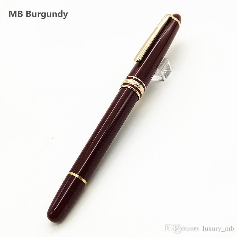 NOVO Luxo M 163 Masterpiece Borgonha Rollerball caneta e caneta esferográfica com número de série caneta de resina vermelha