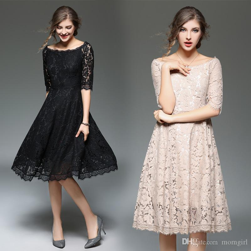 9e7d501251885 Lady Spring Summer lace dress Women's sexy Slash neck Dress Female half  sleeve Casual Slim Party Dresses Vestidos