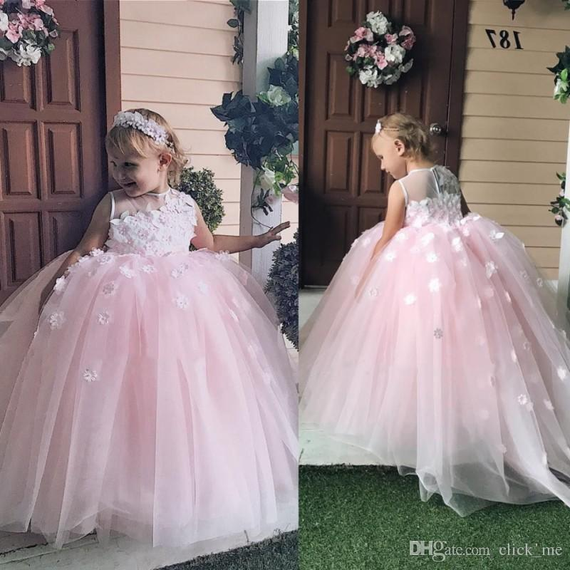 b0ff4eade Baby Pink Ball Gown Flower Girls Dresses Crew Sheer Neck Appliques Girls  Pageant Dress Tulle Lovely Kids Party Dress Formal Wear Yellow Pageant  Dresses ...