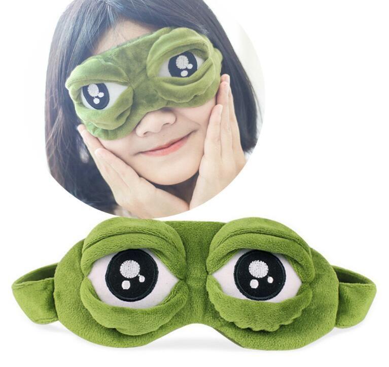 Moda Kawaii Viagem Sono Máscara de Olho 3D Sad Frog Acolchoado Sombra Capa Dormir Fechado / Abrir Olho Engraçado Máscara