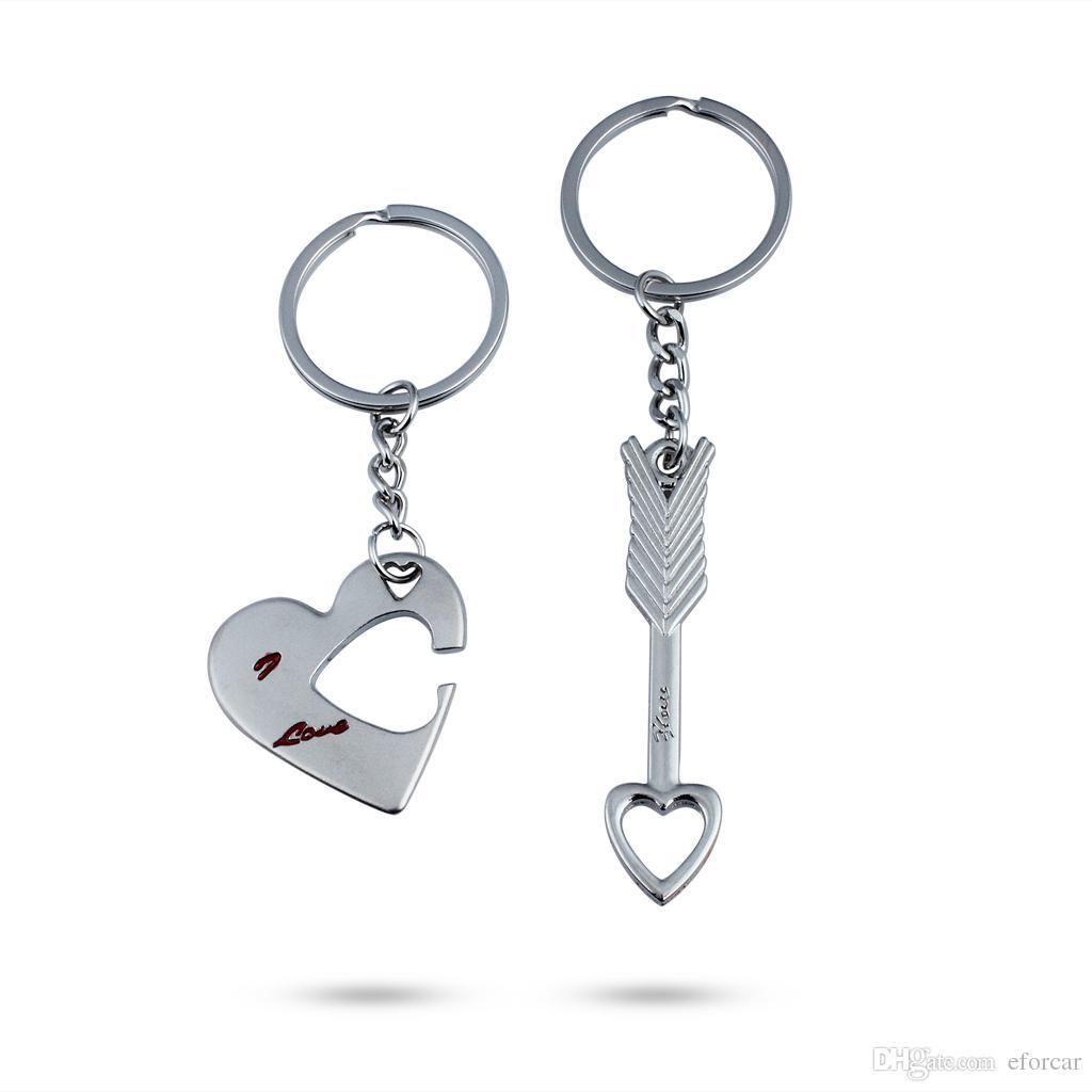 화살표 나는 당신을 사랑합니다 심장 커플 링 키 링 링 Keyfob 애인 Xmas 선물