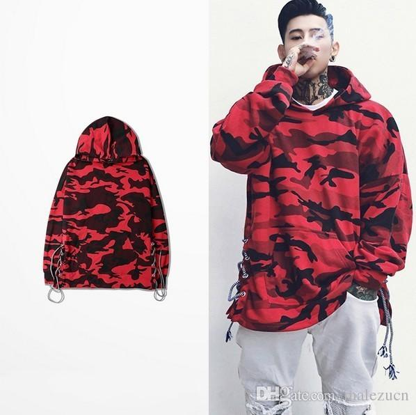2017 Hot Sale Men'S Drawstring Fashion Woodland Camo Hoodies Red ...