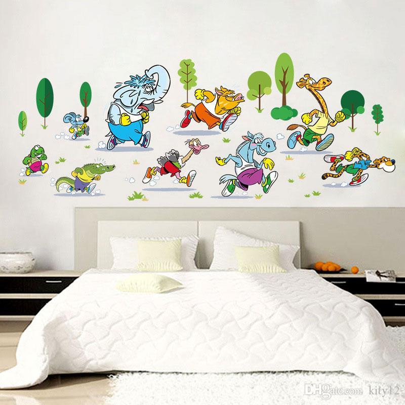 Elefant Tier Rennen Rennen Wandaufkleber Wohnzimmer Schlafzimmer  Wandtattoos Aufkleber Cartoon Kinderzimmer Dekor Aufkleber
