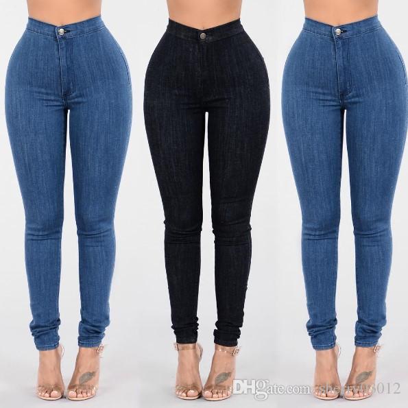 a29ca70350 Compre Pantalones Vaqueros Delgados Para Las Mujeres 2017 Boy Friends  Skinny Jeans De Cintura Alta Mujer Pantalones Del Lápiz Del Dril De Algodón  Azul ...