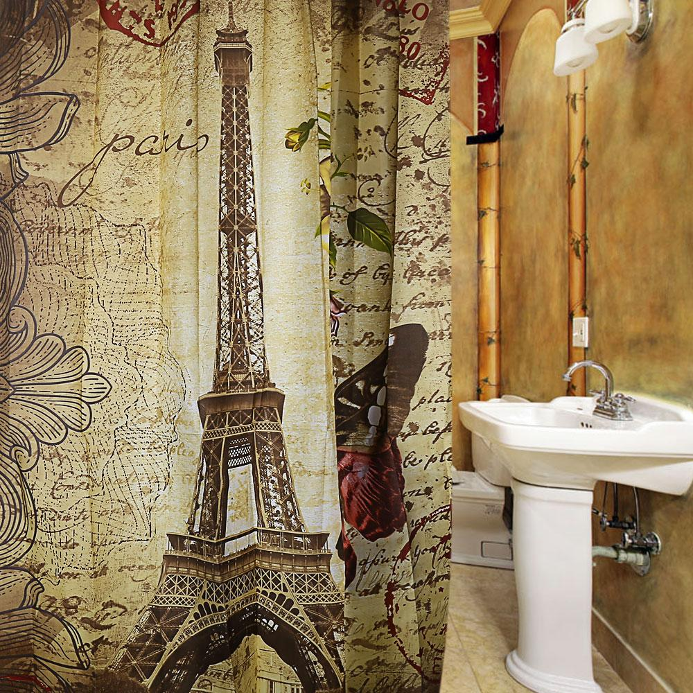 2018 Wholesale Paris Eiffel Tower Waterproof Polyester Bath Shower Curtain Retro Vintage Brown Butterfly Design Pattern With 12 Plastic Buckles From Galry