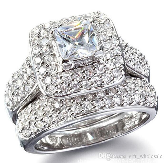 Tamaño 6/7/8/9 Joyería princesa corte 14kt oro blanco lleno lleno topacio Gema simulado diamante Mujeres anillo de compromiso de boda set regalo