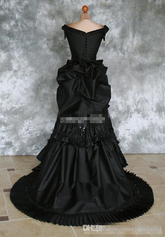 Black Gothic Wedding Dresses Off Shoulder Ruffles Crystals Satin Chapel Train 2016 Costume Dress Lace Victorian Bridal Gowns Custom Made