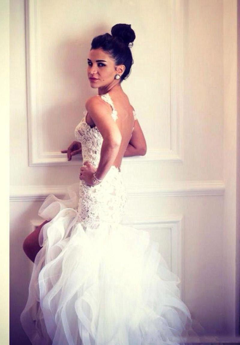 Nueva sirena blanca vestidos de novia de espaguetis con encaje apliques vestidos de novia de alto bajo nivel de volantes vestidos de novia sexy por encargo 2017