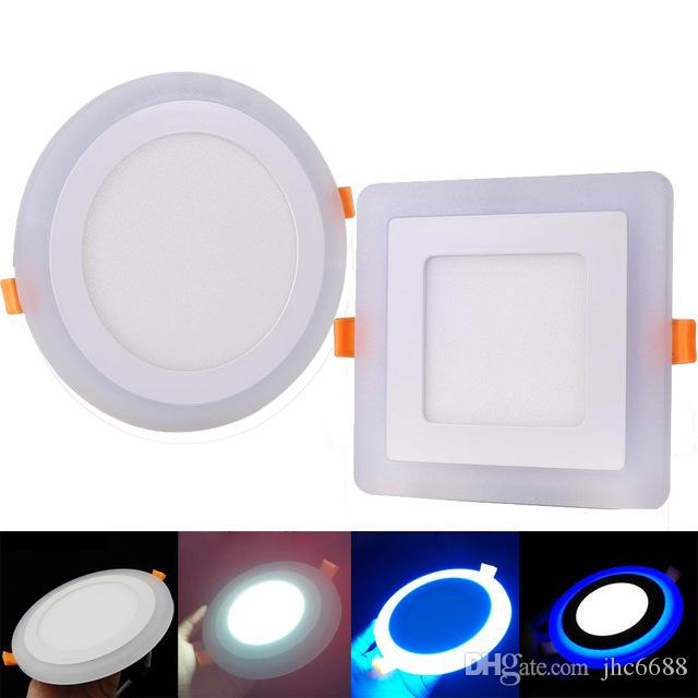 3 Model Round Square Blue White Double Color Led Panel Light 6w 9w 16w 24w Ac85 265v Recessed Ceiling Downlight Down Lights Ip65 Low