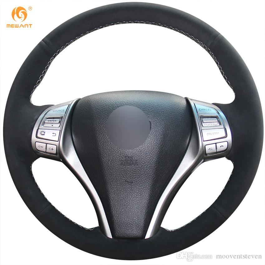 Mewant Black Suede Car Steering Wheel Cover For Nissan 2013 Teana 2014 X Trail Qashqai Sentra Tiida 2016 Covers Cars