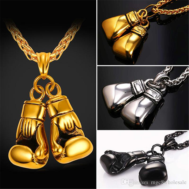 U7 Cool Sport New Men Necklace Fitness Fashion Stainless Steel Workout Jewelry Gold Plated Pair Boxing Glove Charm Pendants Accessories Gift