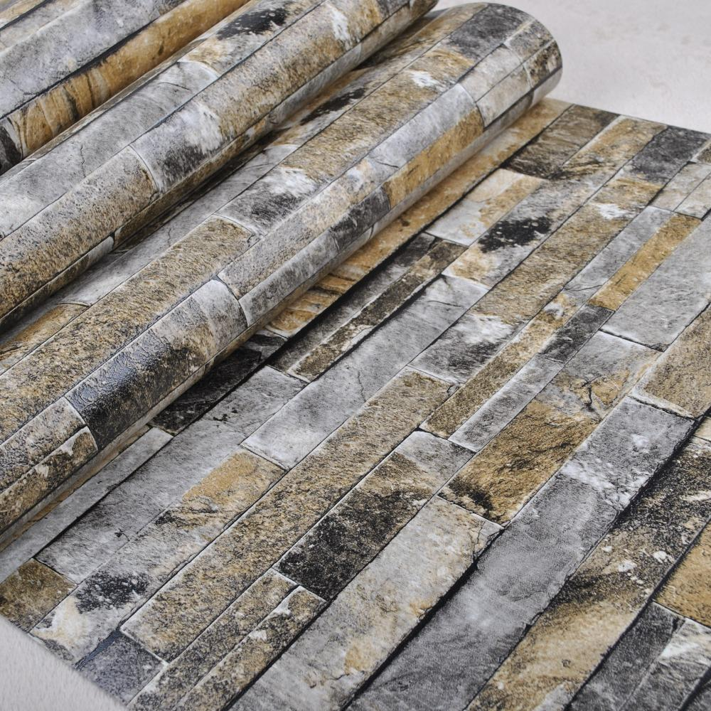 Wholesale Faux Stone Brick Wall 3d Wallpaper Roll Modern Vintage