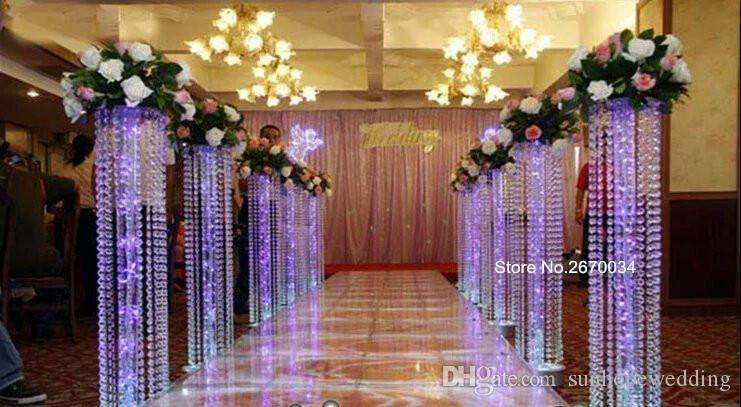 Lüks büyük avize geçit standı düğün için uzun boylu plastik avizeler çiçek standı