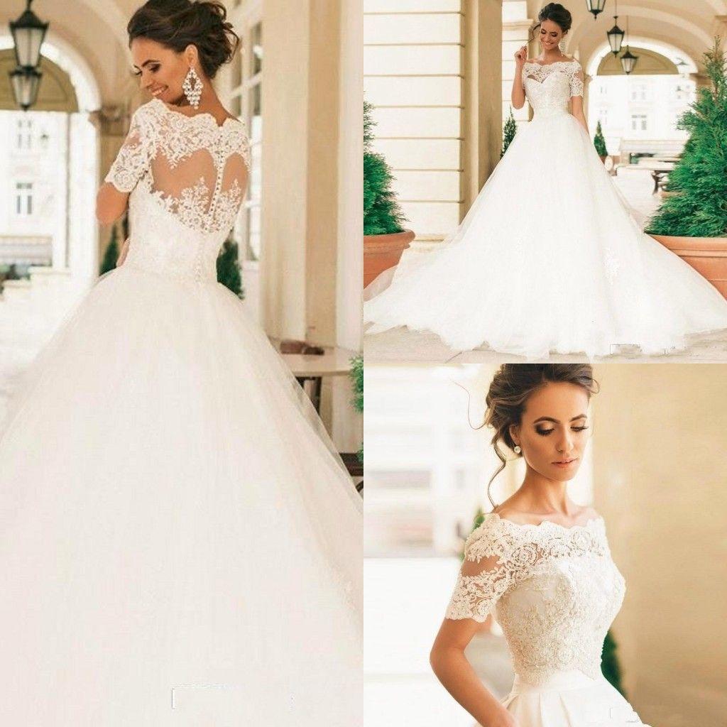 Discount 2017 Robe De Mariage Short Sleeves Wedding