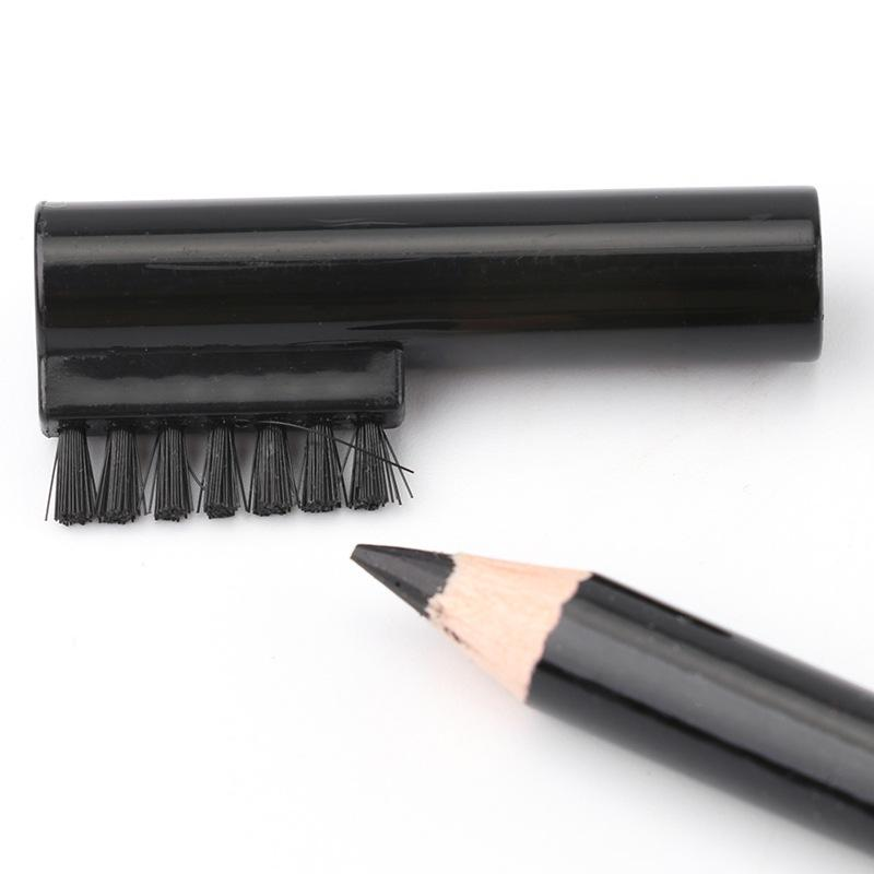 Black color Waterproof Make Up Eyeliner Eyebrow Enhancers wooden Pencil with brush Eye Shadow/Liner Combination Cosmetics