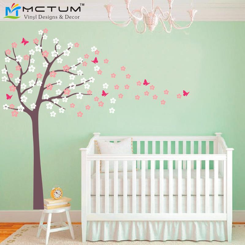 Huge Tree Blowing Cherry Blossom Wall Decal Nursery Tree Flowers Butterfly  Art Baby Kids Room Wall Sticker Nature Wall Decor Art Decals For Walls Wall  Mural ... Part 35